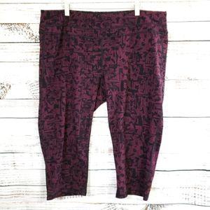 Lucy geometric crop leggings black and mar…